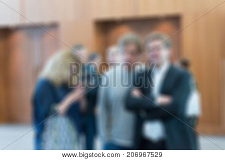 Large press conference convention theme creative abstract blur background with bokeh effect
