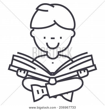 boy reading book vector line icon, sign, illustration on white background, editable strokes