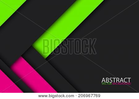 Black green nad pink modern material design vector abstract widescreen background
