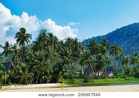 Relaxing on remote paradise beach. Tropical bungalow and luxury house on untouched sandy beach with palms trees in Gulf of Siam, Koh Chang, Thailand