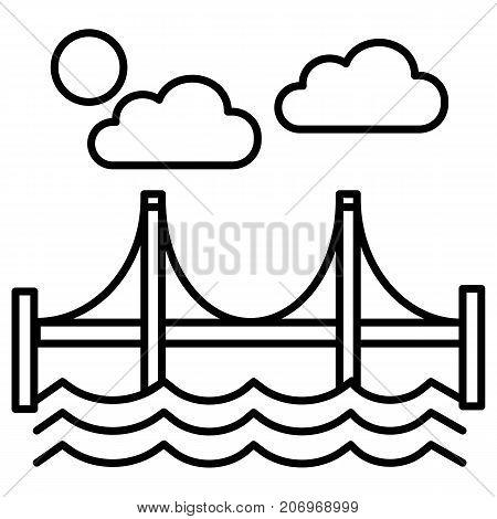 bridge, san francisco vector line icon, sign, illustration on white background, editable strokes