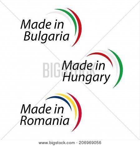 Simple logos Made in Bulgaria Made in Hungary Made in Romania vector logos with Bulgarian Hungarian and Romanian colors