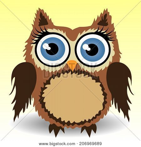 Sweet Fluffy, Shaggy Owl-girl With Long Eyelashes, Brown, Natural