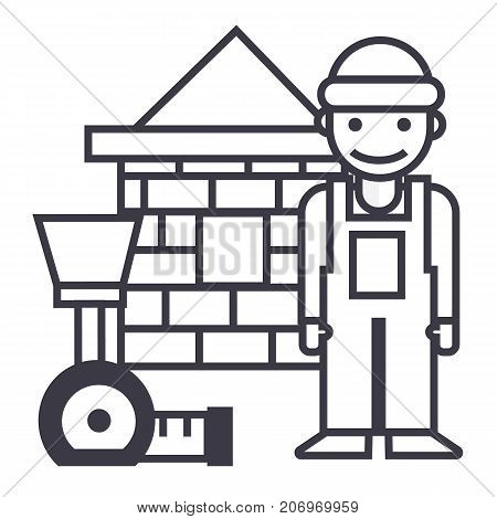 builder, brick house, meter vector line icon, sign, illustration on white background, editable strokes