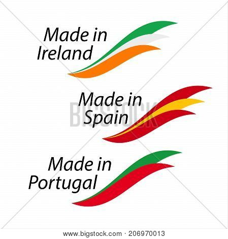 Simple icons Made in Ireland Made in Spain Made in Portugal vector logos with Irish Spanish and Portuguese flags