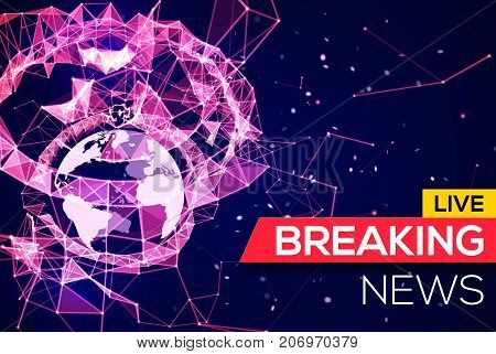 Breaking News Live Banner on Blue Glowing Plexus Structure Background with Earth Planet. World News on Abstract Geometric Network with Connecting Lines and Triangles. Technology Vector Illustration.
