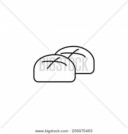 buns, roll, baked bread vector line icon, sign, illustration on white background, editable strokes