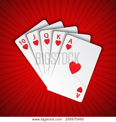 A royal flush of hearts on red background winning hands of poker cards casino playing cards