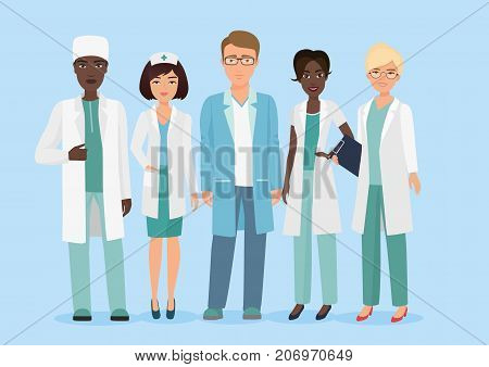 Vector Cartoon illustration of Hospital medical staff team, doctors and nurses characters. Medical concept