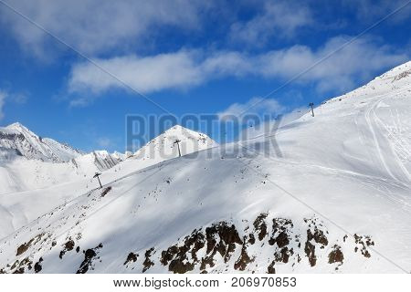 Off-piste Slope And Chair-lift On Ski Resort