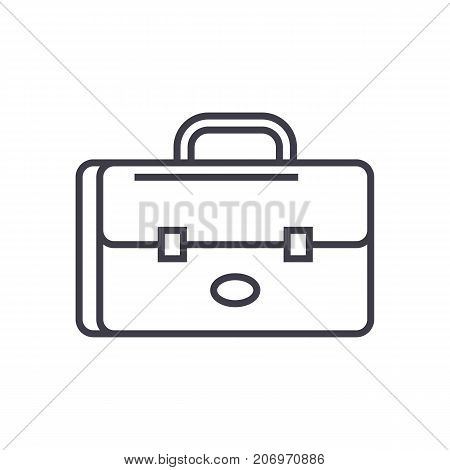 business case, portfolio sign vector line icon, sign, illustration on white background, editable strokes