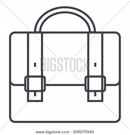 business case, portfolio vector line icon, sign, illustration on white background, editable strokes