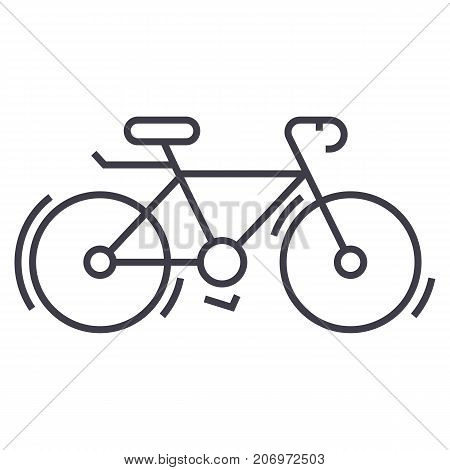 bycicle vector line icon, sign, illustration on white background, editable strokes