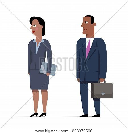 Set of Afro-American businessman character flat illustrations. Man with briefcase and woman with folder. Business dress-coat blue suit. Vector illustration.