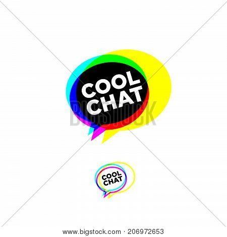 Three color transparent bubbles with letters. Isolated, on white background. Cool chat stereo logo. Chat emblem.