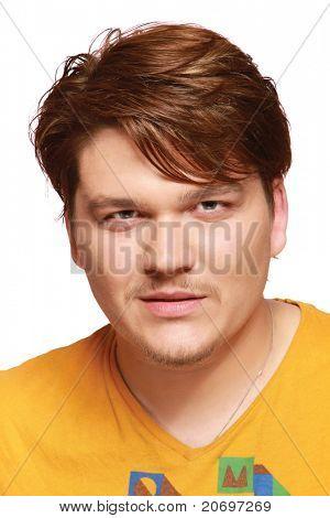 Closeup of a young man wearing an orange t-shirt