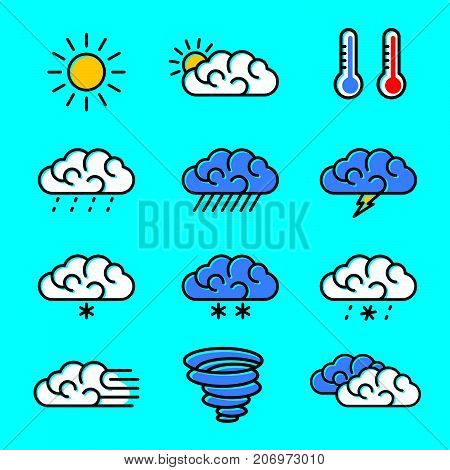 Weather icons set vector illustration. Line art of weather icons.