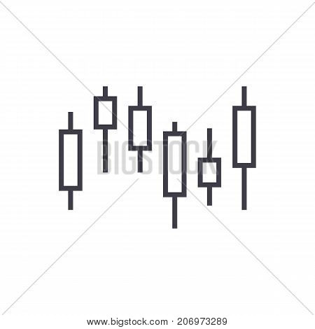 candlestick chart vector line icon, sign, illustration on white background, editable strokes