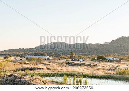 GROSS BARMEN NAMIBIA - JULY 3 2017: Sunset view of the camping site in Gross Barmen near Okahandja in the Otjozondjupa Region of Namibia