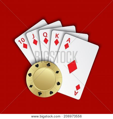 A royal flush of diamonds with gold poker chip on red background winning hands of poker cards casino playing cards and chip