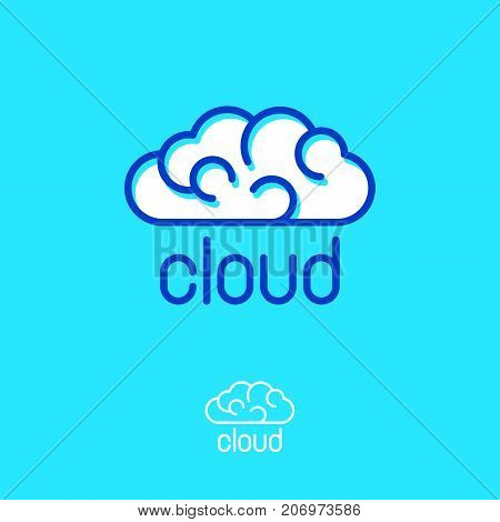 Blue cloud emblems. Linear logo. Cloud computing logo. Communication or network icon.