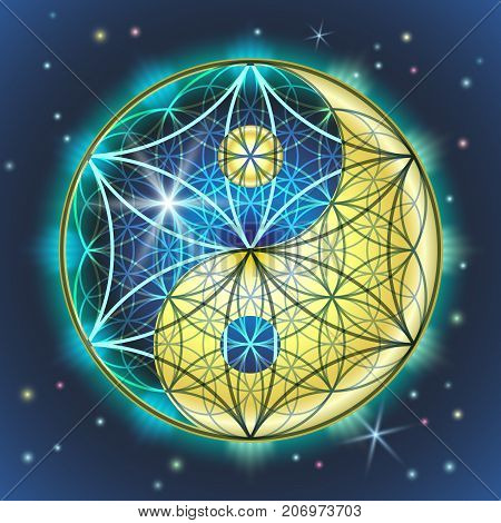 Creative vector illustration of the symbol and sign of yin yang and FLOWER OF THE LADY. Sacred geometry of a bright colorful blue-yellow sign on the background of the starry sky.