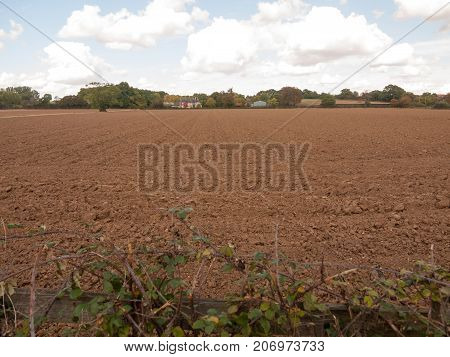 Uk Farm Field Dirt Recently Ploughed And Empty