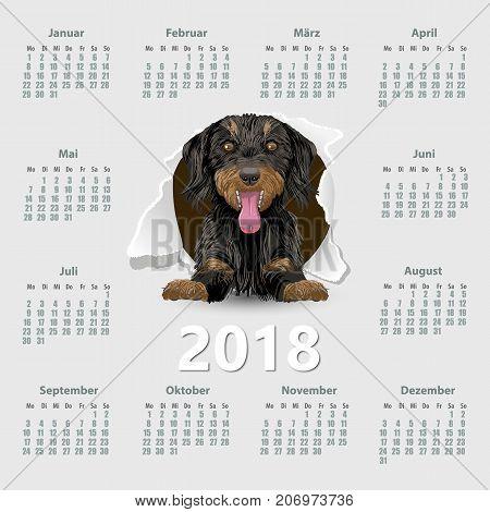 Calendar 2018 year with dog German. Week starting on Monday. eps