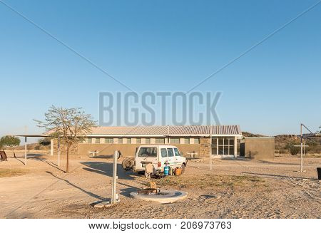 GROSS BARMEN NAMIBIA - JULY 4 2017: A view of a camping site and ablution block in Gross Barmen near Okahandja in the Otjozondjupa Region of Namibia