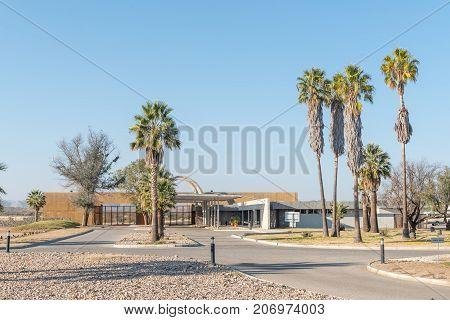 GROSS BARMEN NAMIBIA - JULY 4 2017: A view of the entrance gate reception office and shop in Gross Barmen near Okahandja in the Otjozondjupa Region of Namibia