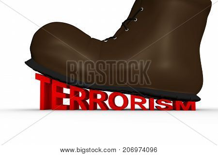 shoe crushes terrorism in the form of text on a white background 3D illustration