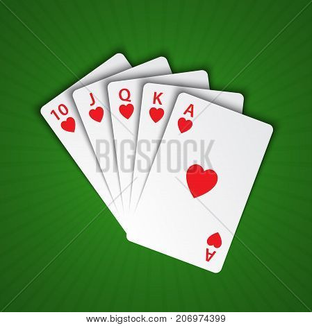 A royal flush of hearts on green background winning hands of poker cards casino playing cards