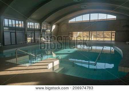 GROSS BARMEN NAMIBIA - JULY 4 2017: The indoor warm water swimming pool at Gross Barmen near Okahandja in the Otjozondjupa Region of Namibia