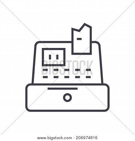 cash machine, cashier, cash register vector line icon, sign, illustration on white background, editable strokes