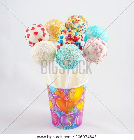 colorful cake pops for  childrens party birthday