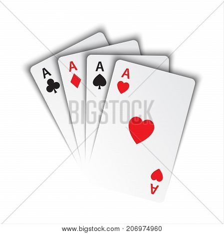 Set of aces ace of spades herts clubs and diamonds poker cards on white background vector playing cards