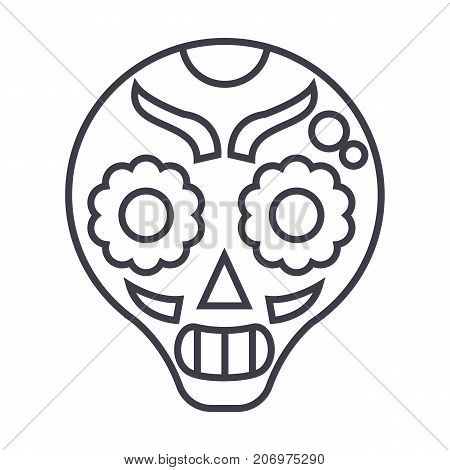 catrina vector line icon, sign, illustration on white background, editable strokes