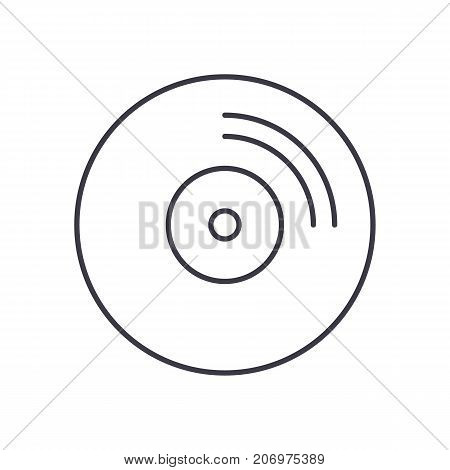 cd disc vector line icon, sign, illustration on white background, editable strokes
