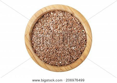 flax seeds in a plate isolated on a white background