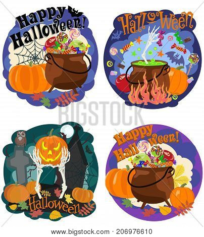 Vector set of pictures for funny Halloween with picture of pumpkin, bones of skeleton, sweets, cauldron and bat, cobwebs and an inscription Happy Halloween.