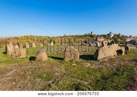 stones laid out in a circle in a landscape park in the village of Buki Ukraine October 11 2014