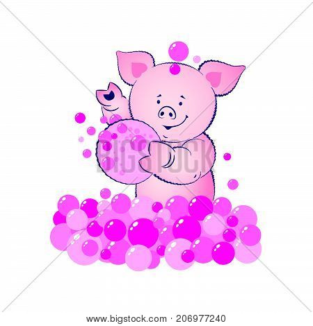 Baby pig is washing illustration. Lovely blue bear cub with a washcloth and bubbles.