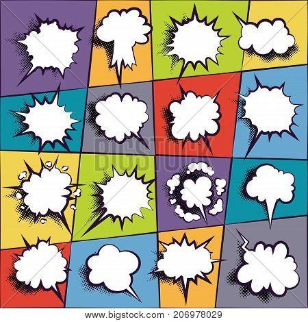 Comics book dialog empty cloud, space cartoon box pop-art. Set outline picture template memphis style text speech bubble on violet background. Creative idea conversation sketch explosion balloon.