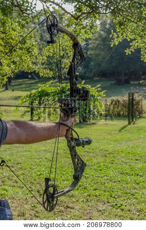 Hunting or competition, target practice with archery bow and arrow. Preparing and practicing for sporting activity of hunting or competition.