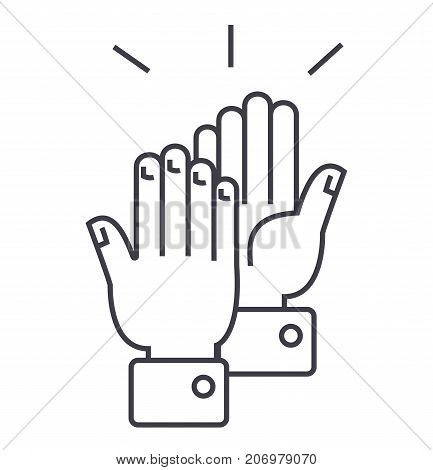 clapping hands  vector line icon, sign, illustration on white background, editable strokes