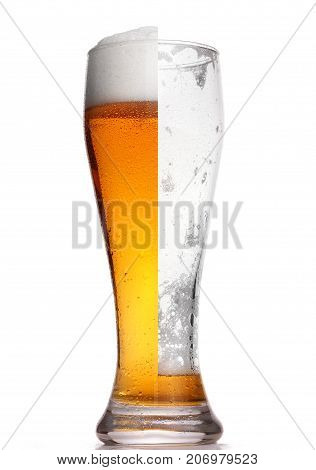 Glass Of Beer Half Full Half Empty, Isolated On White.concept Half Full,half Empty