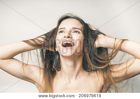 Woman without problems with hairs, no spring beriberi,smile,joy