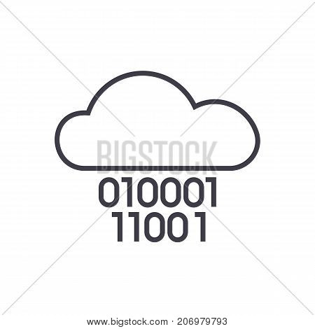 cloud service, digits zero one, binary code vector line icon, sign, illustration on white background, editable strokes