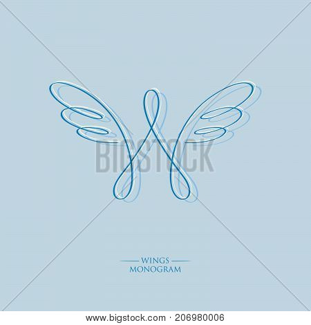 W letter. W monogram. Wings logo. The letter w with wings on a blue background. Linear logo.
