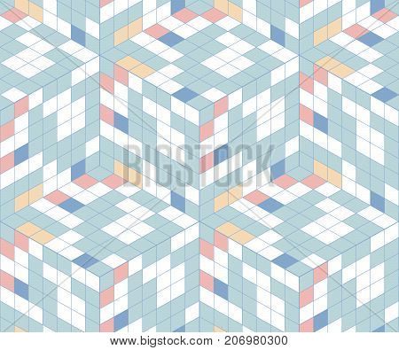 Abstract seamless pattern from cubic elements. Movement of colors and shapes. Diagonal lines. Geometric mosaic.
